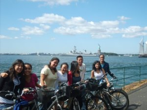 Enjoying the view of the Statue of Liberty while biking around the island.